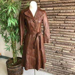 Vintage Mexican Brown Leather Fitted Trench Coat S